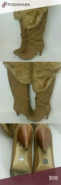 BAKER'S Shearling Boots Baker's Tan Shearling Knee Boots EUC Heels and soles in excellent condition, worn only 2 or 3 times. Super Bad pair of boots. Great Deal size 8.5 Bakers Shoes Over the Knee Boots