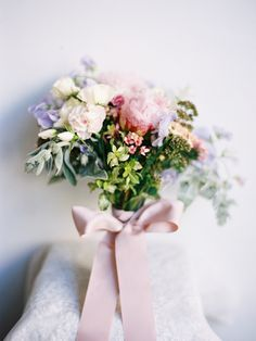 Pretty pastel bouquet from Miss Indonesia's Bali wedding: http://www.stylemepretty.com/vault/gallery/38112   Photography: Angga Permana - http://anggapermanaphoto.com/