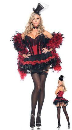 y Saloon Girl Seductress Cabaret Burlesque Costume 4PCS Fancy Party Dress Halloween Alternative Measures