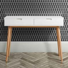 White Oak Mid Century Console Table
