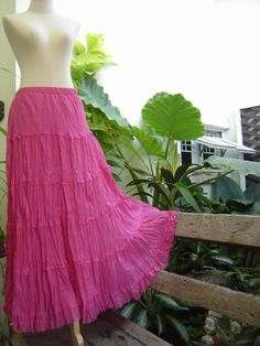 Boho Gypsy Long Tiered Ruffle Cotton Skirt by Fantasy Clothes
