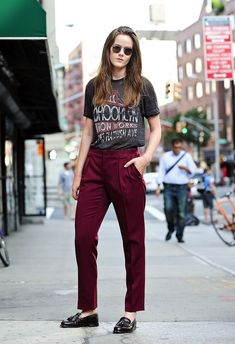 Ashley Owens // round sunglasses, vintage style tee, burgundy pants & loafers #style #fashion #streetstyle