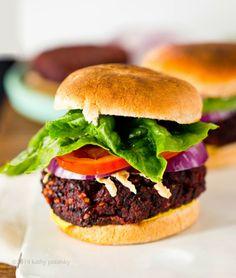 Black & Beet Mushroom-Walnut Veggie Burgers. #vegan #glutenfree #soyfree