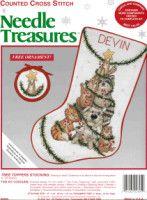 Tree Toppers - 1 of 6 Cross Stitch Christmas Stockings, Cross Stitch Stocking, Christmas Stocking Pattern, Xmas Cross Stitch, Christmas Stocking Holders, Cross Stitch Books, Xmas Stockings, Cross Stitch Needles, Cross Stitch Animals