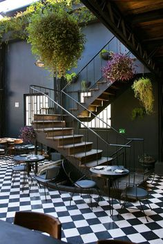 cafe, tiled floor, stairs, greenery