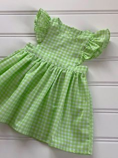 Diy Crafts - -Excited to share this item from my etsy shop: Easter Dress for Girl, Baby Easter Dress, Toddler Easter Dress, Pinafore Dress, Gingham D Girls Frock Design, Kids Frocks Design, Baby Frocks Designs, Baby Dress Design, Cute Little Girl Dresses, Toddler Girl Dresses, Dress Girl, Infant Dresses, Cotton Frocks For Kids