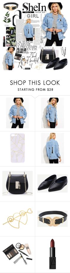 """SheIn(sheinside) Blue Ripped Denim Jacket"" by miss-maca ❤ liked on Polyvore featuring WithChic, Borghese, NARS Cosmetics, BOBBY and Chapstick"