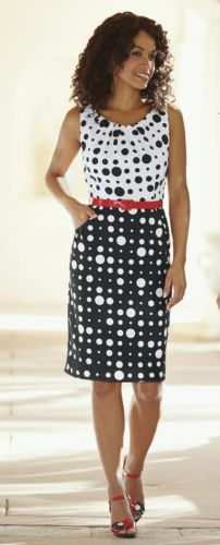 Belted Polka Dot Sheath from Midnight Velvet®. A lively gathering of polka dots in black and white make this colorblock sheath one of the most fun dresses of the summer. The red belt nips in the waist and adds a pop of color.