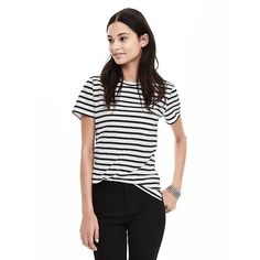 Banana Republic Womens Striped Cotton Pocket Tee ($37) ❤ liked on Polyvore featuring tops, t-shirts, white, short sleeve t shirt, white cotton t shirts, short sleeve tee, stripe tee and cotton tee
