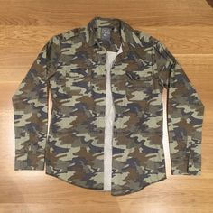 Mens THE People VS Camouflage Long Sleeve Button Shirt Camo Size XL | eBay