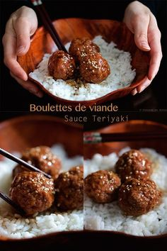 Meatballs and homemade teriyaki sauce - - Meat Recipes, Asian Recipes, Cooking Recipes, Cooking Time, Comida Armenia, Sauce Teriyaki, Food Porn, Salty Foods, Comfort Food