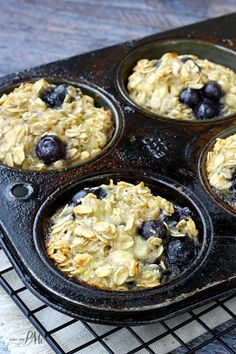 Baked Blueberry Oatmeal Cups ~ Moist and not too sweet. They're a cross betw… Baked Blueberry Oatmeal Cups ~ Moist and not too sweet. They're a cross between baked oatmeal and muffins, and are perfect for quick, on-the-go breakfasts! Breakfast Muffins, Breakfast Dishes, Breakfast Time, Breakfast Recipes, Breakfast Ideas, Blueberry Breakfast, Daniel Fast Breakfast, Egg White Breakfast, Oat Muffins