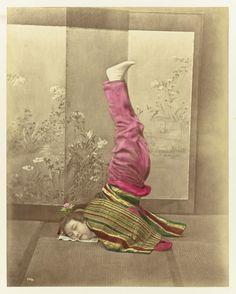 Japanese woman standing on her head with legs and hands straight up by Baron Raimund von Stillfried-Ratenitz, 1870-1890. Rijksmuseum, Public Domain