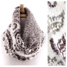 """B101 Reversible Paisley Ivory Infinity Scarf Reversible Paisley Infinity Scarf    ‼️ PRICE FIRM UNLESS BUNDLED WITH OTHER ITEMS FROM MY CLOSET ‼️   ABSOLUTELY FABULOUS!!!!  100% acrylic.  This scarf is so soft you will never want to take it off.  Dress up any outfit day or night. Lots and lots of stretch for a perfect look and comfort!  Please check my closet for many more items.  Length 24""""  Width 14"""" Boutique Accessories Scarves & Wraps"""