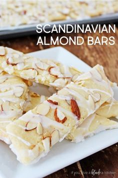 Scandinavian Almond Bars Scandinavian almond bars are made with almond extract, slivered almonds and vanilla glaze. It's an easy recipe to make in large batches for the holidays. Köstliche Desserts, Delicious Desserts, Dessert Recipes, Yummy Food, Bar Recipes, Almond Recipes, Baking Recipes, Cookie Recipes, Almond Bars Recipe Healthy