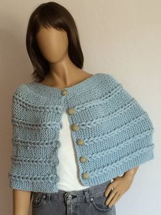 Knit Capelet Poncho Shawl Cape Sweater Scarf Blue by KnitBuddy