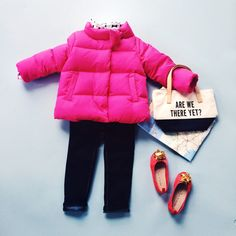 #imagineyourholiday in a hot pink puffer and skinny jeans from @katespadeny for GapKids.