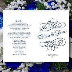 Printable Wedding Program Template by WeddingTemplates on Etsy