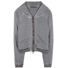 Haider Ackermann Cotton Hoodie ($1,149) ❤ liked on Polyvore featuring tops, hoodies, cardigans, sweaters, grey, gray hoodies, grey hooded sweatshirt, sweatshirts hoodies, cotton hoodie and grey top