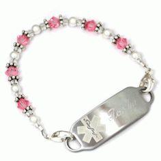 Sweet Medic Alert Bracelets.  I could make a bracelet that actually fit Phoebe's tiny wrists.