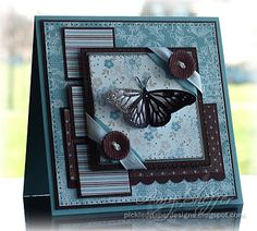 """Stamps: SU God's Beauty Paper: Baja Breeze, Chocolate Chip, Parisian Breeze Specialty DSP Ink: Chocolate Chip craft Accessories: clear embossing powder, Baja Breeze ribbon, white taffeta ribbon, Chocolate Chip corduroy buttons, paper piercer, dimensionals, scallop border punch Size: 5"""" square All supplies by Stampin' Up"""