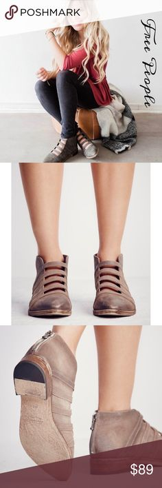 """🎀FREE PEOPLE SWEPT AWAY ANKLE BOOTIE  IN GRAY🎀 NOWT, no box.  The Swept Away Ankle Bootie is a 1.25""""  stacked heels with a slightly distressed leather upper with unique open ladder strap design at the top of the foot. Fit true to the size. Free People Shoes Ankle Boots & Booties"""