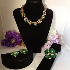 """25% off with Coupon!  Juliana Jewelry Set -  17.5"""" Green and Goldtone Necklace with Aurora Borealis Rhinestones & a Large Matching Aurora Borealis Rhinestone Brooch Set in Goldtone and 1 """" Clip On Matching Green and Goldtone Aurora Borealis Earrings.The Set is listed together and separately. The price is $75.00 before you 25% off discount. This Classic Juliana Jewelry Set is stunning. All the stones are in place and you can see more photos in our store. Have a great vintage day…"""