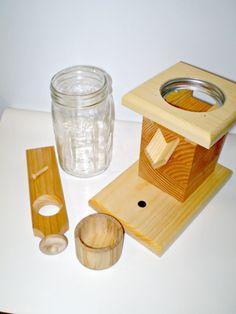 Dispensador de maní madera natural / Candy Dispenser con mason