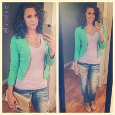 Instagram instafashion fashion casual outfit ootd  vneck cardigan jeans flats collage lime lavender. Curly hair. Photo by branbriz