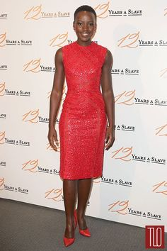 """Lupita Nyong'o attends the """"12 Years A Slave"""" Paris movie premiere at Cinema UGC Normandie in Paris, France, in an Elie Saab Resort 2014 Collection dress. Posted on December 12th, 2013, at TomAndLorenzo.Com. (View #3 of 3)"""