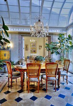 A sunroom transformed into dining room