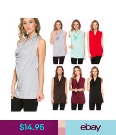 Tops Usa Women Casual Cowl Neck Draped Front Sleeveless Tunic Top Solid Blouse Sxl #ebay #Fashion