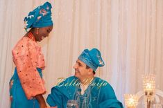 BellaNaija Bride & Groom: Fola & Srdjan Nigerian Wedding Makeup aso oke gele beads naija bride yoruba groom fila agbada buba
