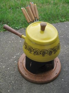60s vintage yellow mushroom fondue set by lerobot on Etsy, $39.00