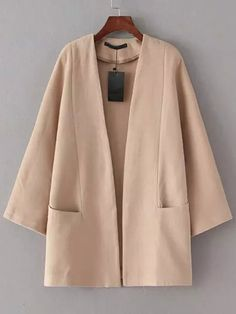 Apricot Long Sleeve Pockets Casual Coat -SheIn(abaday)