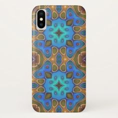 Cute Turquoise Blue Brown Nouveau Deco Pattern iPhone X Case - modern gifts cyo gift ideas personalize