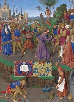 Jean Fouquet, Livre d'heures d'Étienne Chevalier, entre 1452 et 1460. Chantilly, musée Condé.  Le Portement de Croix.