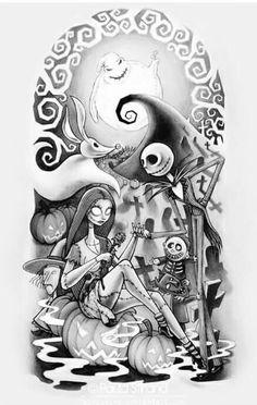 Main tattoo idea! Tim Burton Style, Tim Burton Art, Tim Burton Films, Tim Burton Drawings, Tim Burton Johnny Depp, Tattoo Stechen, Tattoo Motive, Jack Y Sally, Nightmare Before Christmas Tattoo