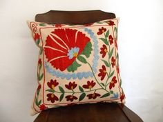 Suzani Embroidered Pillow Cover -Decorative Pillow For Couch - Throw Pillow - Hand Embroidered Pillow - Vintage Uzbek Pillow - Accent Pillow on Etsy, $42.00