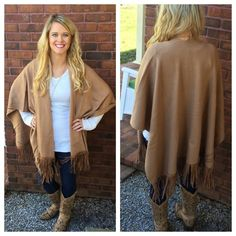 NWT Camel Fringe Poncho Sweater From Tea N Cup, this super chic fringe poncho sweater will be an excellent staple for your closet this winter! This durable sweater is made of 60% cotton & 40% acrylic. Very soft & comfy! One size fits all. I have 4 available! Bundle & save! ❤️ Tea n Cup Sweaters Shrugs & Ponchos