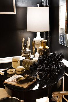 Love black walls! Glamorous Interior Design Inspirations - Fuji Files for Camille Styles