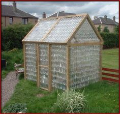 Greenhouse made from plastic water bottles
