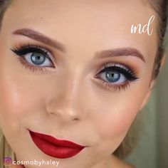 Make up Those bright red lips though! Makeup Tips Lips, Red Lips Makeup Look, Skin Makeup, Beauty Makeup, Eyeliner Makeup, Beauty Tips, Korean Makeup Tips, Lip Makeup Tutorial, Make Up Videos