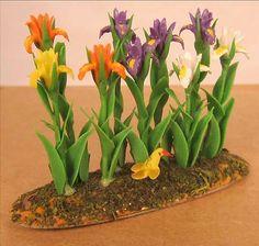Dollhouse Miniature Spring Garden Floral Garden Tall Flowers | eBay