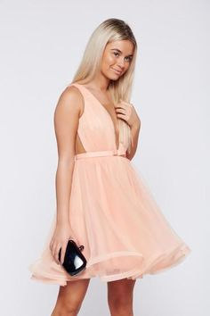 Ana Radu cloche peach luxurious dress with a cleavage from tulle with inside lining accessorized with tied waistband Product Label, Corset, Cold Shoulder Dress, Tulle, Peach, Luxury, Clothes, Collection, Dresses