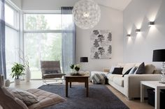 living room with perfect lightning, color and furniture!