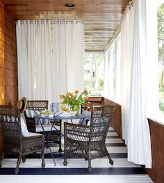 Painting blue stripes on my porch floor is on my project list for this fall! | via BHG.com