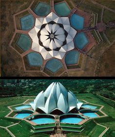 The Baha Temple in Delhi (aka the Lotus Temple) is celebrated as a portal of sacred geometry and symbolism. Located in New Delhi, India, it was completed in 1986.  It's considered to be the mother temple of the Indian subcontinent and has become a prominent attraction of the city.