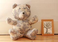 JOU Bear  Handmade Plush  Toile de Jouy linen par KarPatCreations