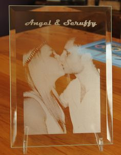 Bevel glass 250 x 200 mm engraved with photo and text. Glass Photo Frames, Cnc Projects, Laser Printer, Beveled Glass, Glass Etching, Shadow Box, Laser Engraving, Laser Cutting, Clear Acrylic
